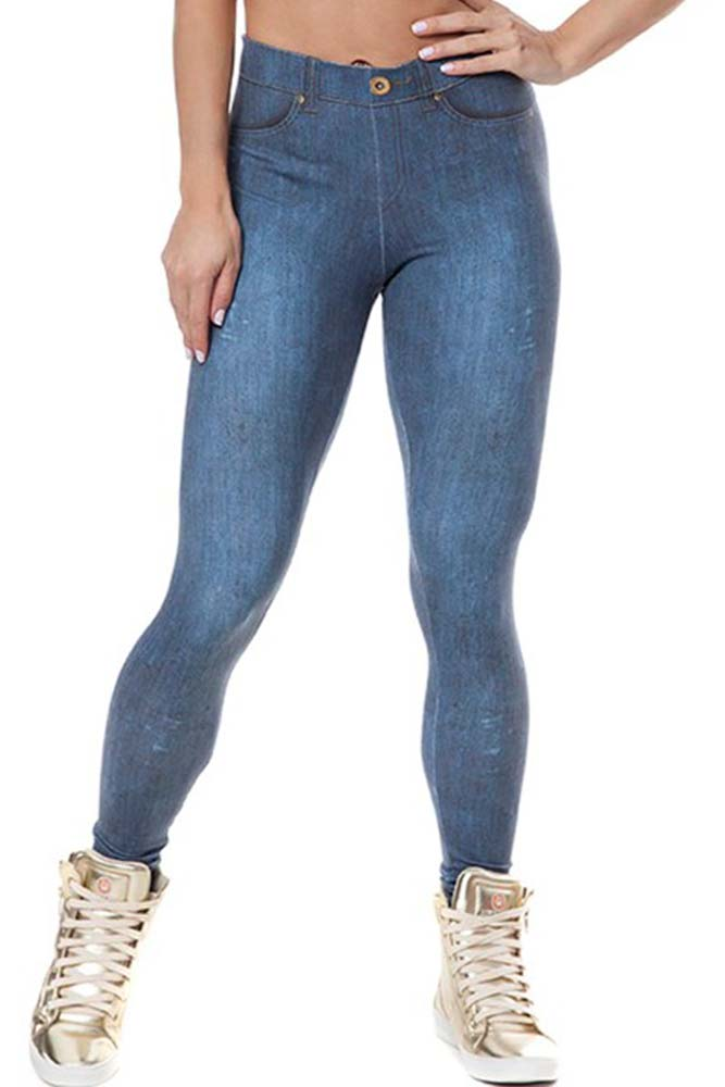 Legging Fitness Jeans Fake Escura