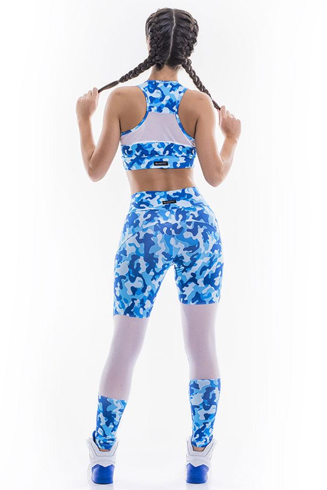 Legging Fitness Recorte Tule Camuflada