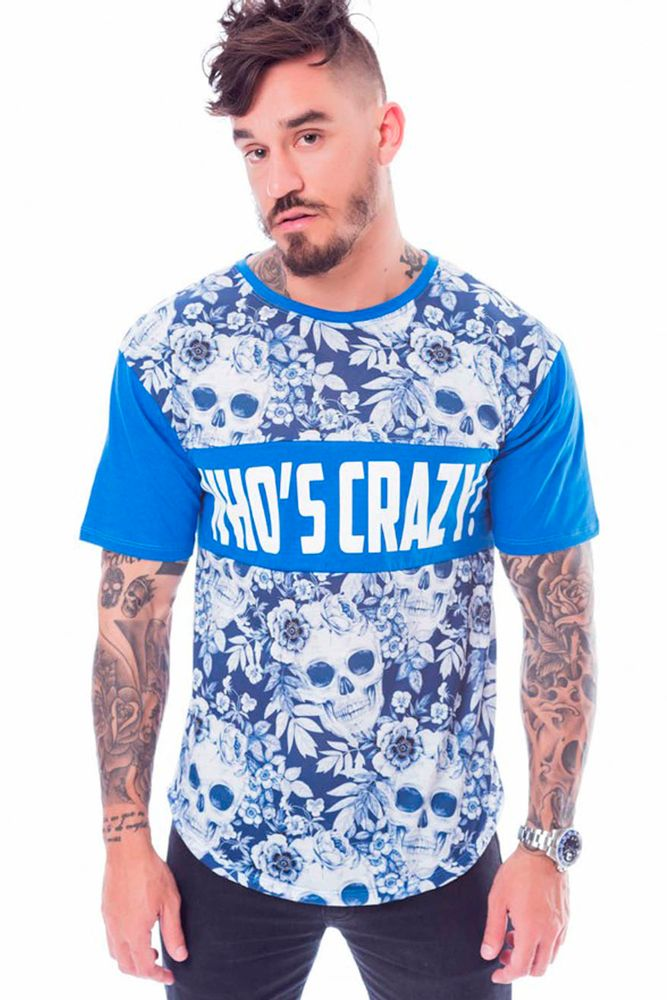 Camiseta Longline Who's crazy Skull Azul