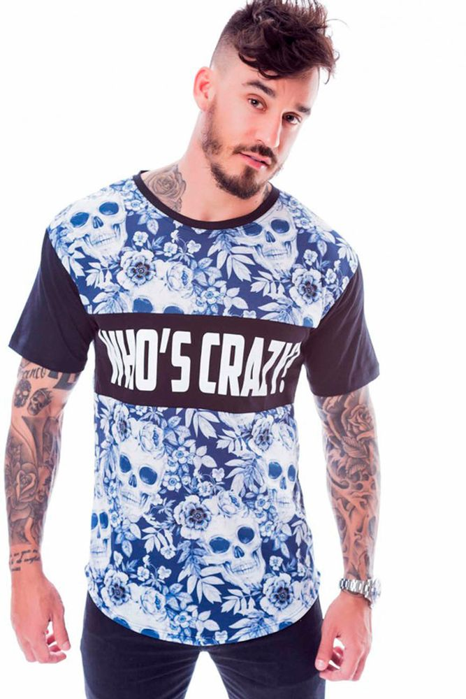 Camiseta Longline Who's crazy Skull Preta