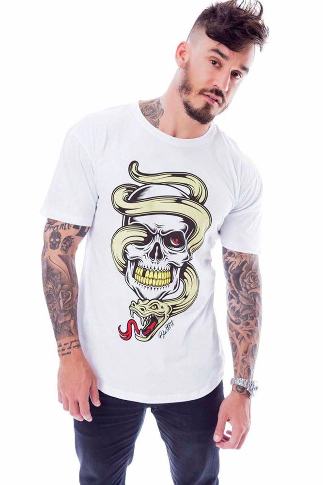 Camiseta Snake Skull Branca frente