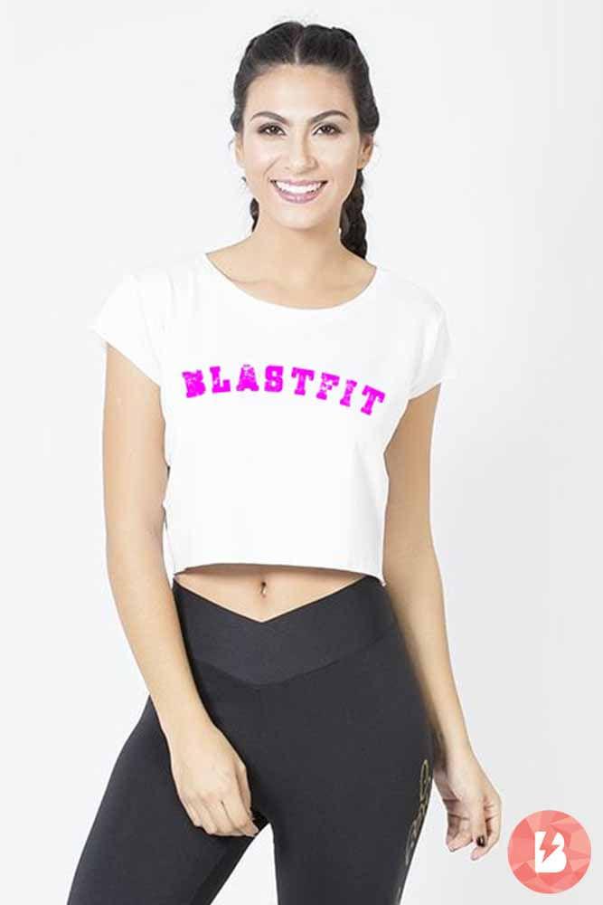 Blusa Fitness Blast Fit Branca Rosa
