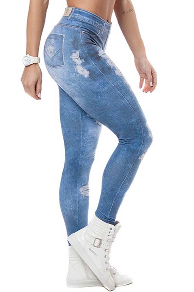 Legging Fitness Jeans Fake Clara Média