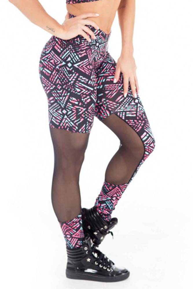 Legging Fitness Recorte Tule Abstract