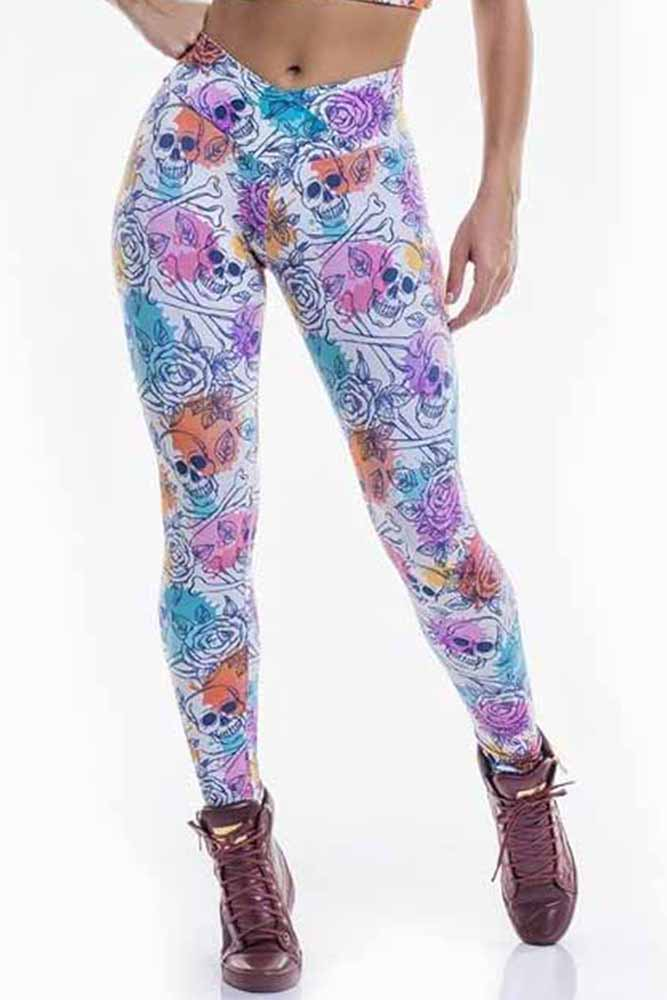 Legging Fitness Skull And Flowers