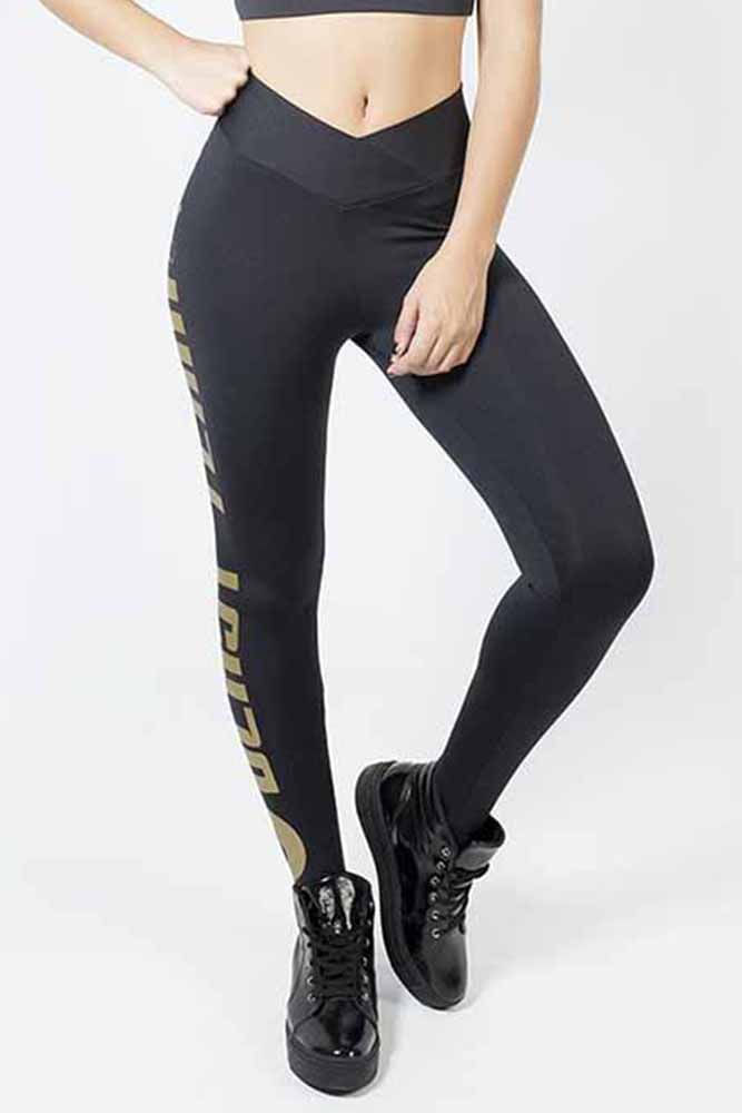 Legging Fitness Preto Blast Team Gold
