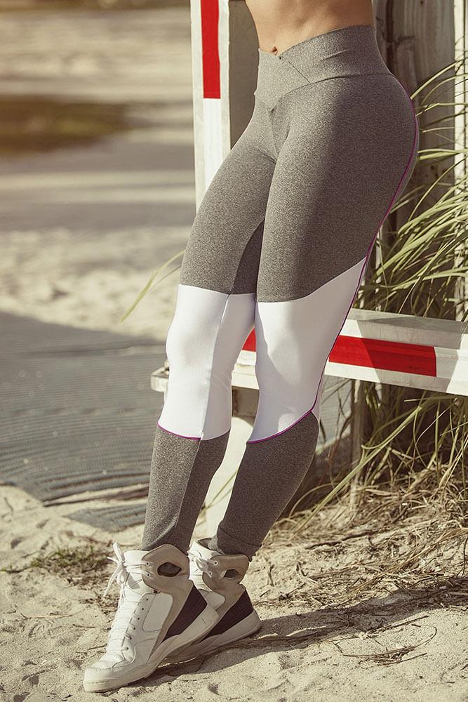 Legging Fitness Mescla e Branco