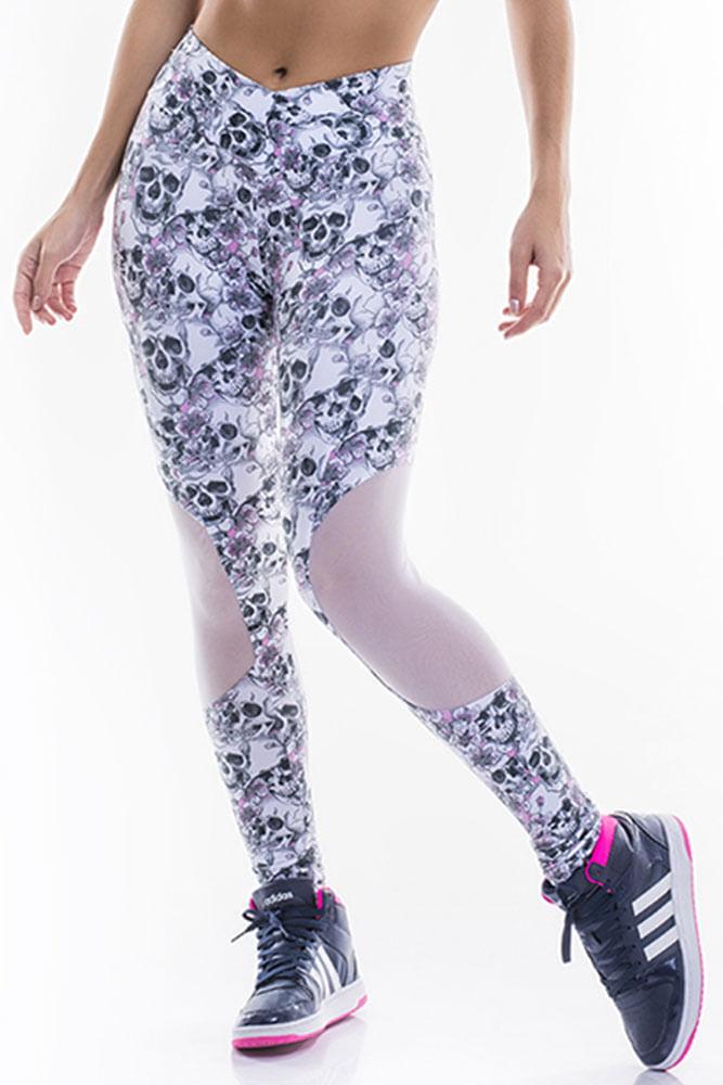 Legging Fitness Recorte Tule Skull