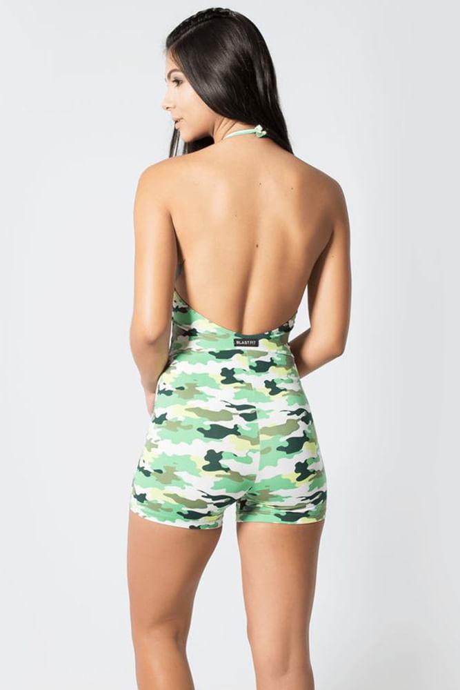 Macaquinho Fitness Camuflado Verde costas