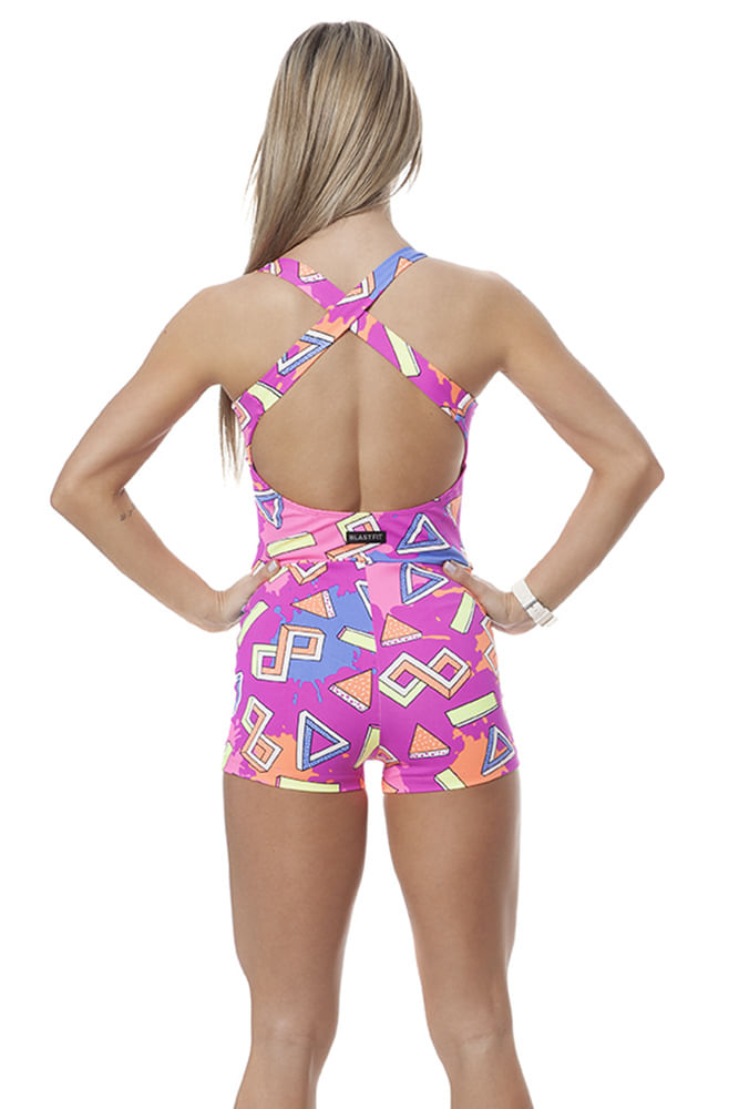 Macaquinho Vestido Fitness Abstract Rosa costas