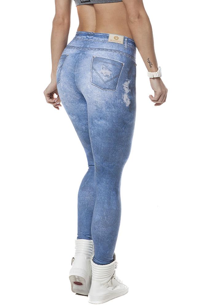 Legging Fitness Jeans Fake Clara Média costas
