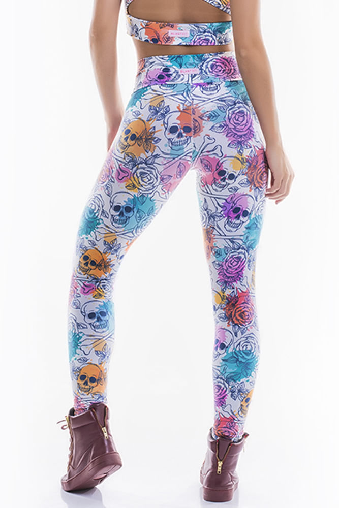 Legging Fitness Skull And Flowers costas