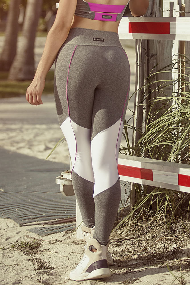 Legging Fitness Mescla e Branco costas