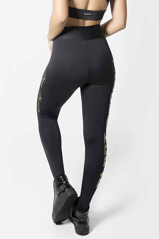 Legging Fitness Preto Blast Team Gold costas