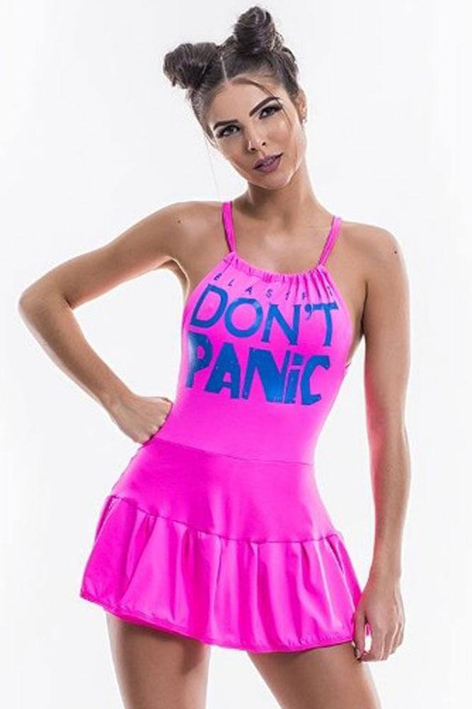 Vestido de Malhar Don-t Panic Rosa