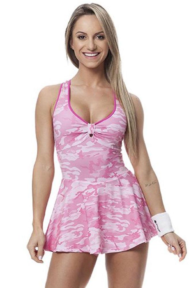 Vestido de Malhar Camuflado Rosa