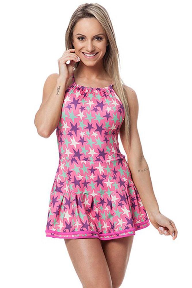 Vestido de Malhar Estrelas Rosa