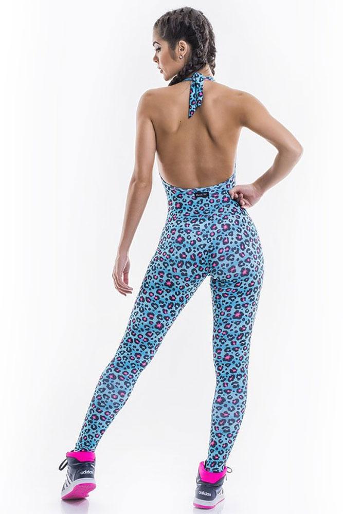 Macacão Fitness Estampa Leopard Azul