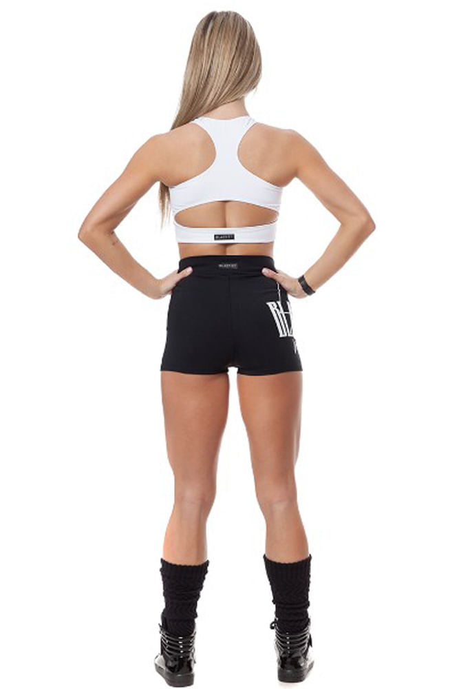 Shorts Fitness Cintura Alta Preto Blast Fit