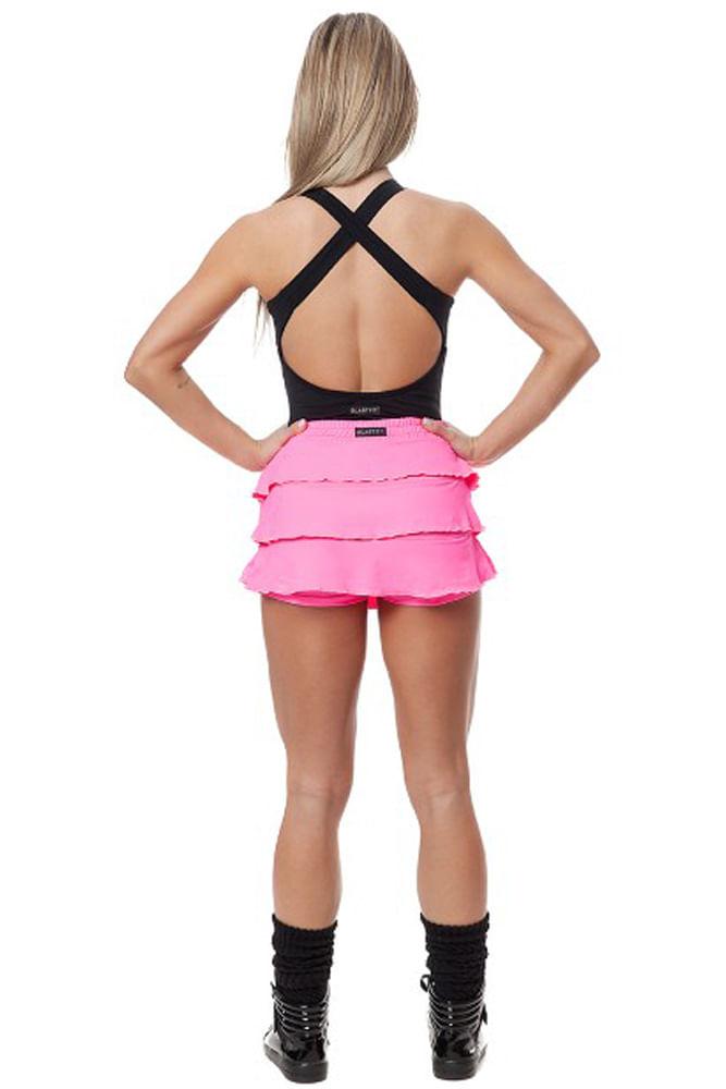 Saia Shorts Fitness Babado Rosa Fluor