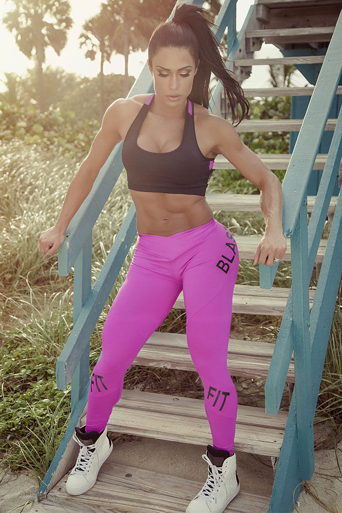 Calça Legging Fitness Pink Blast Fit frente