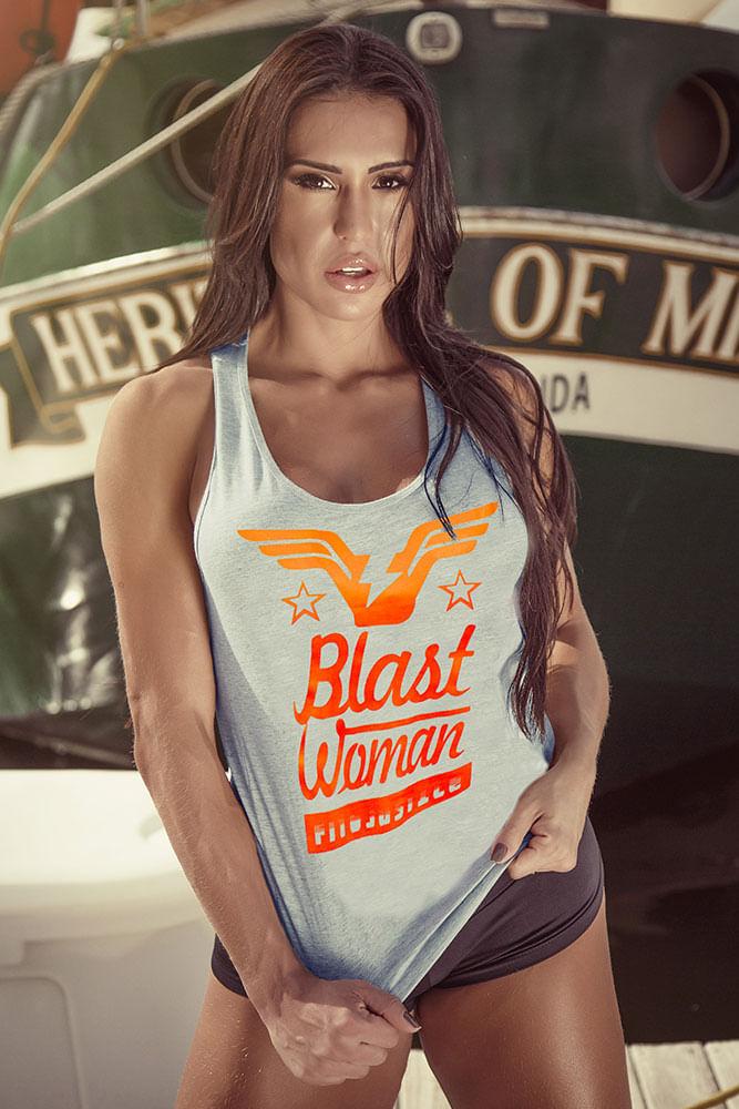 Regata Fitness Cinza Blast Woman costas