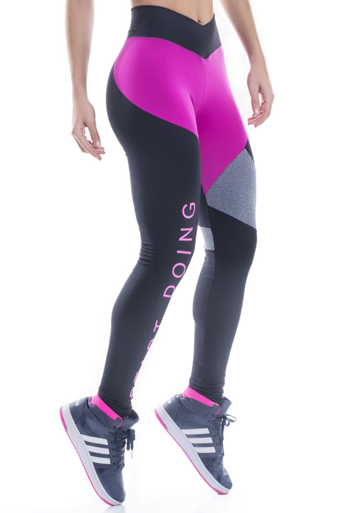 Legging Fitness Preto e Rosa Start Doing
