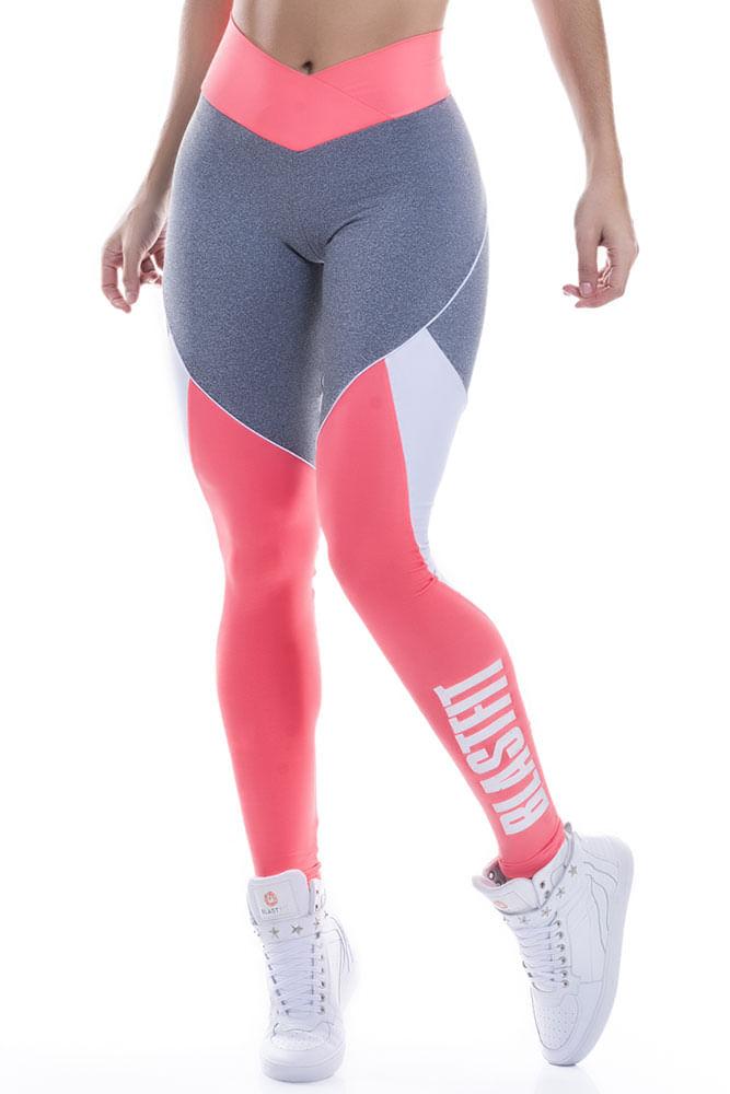 Legging Fitness Mescla e Laranja Blast Fit