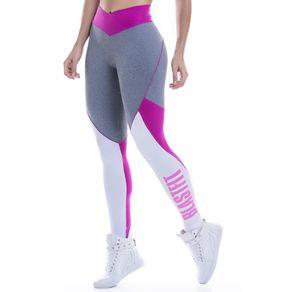 Legging Fitness Mescla e Rosa Blast Fit