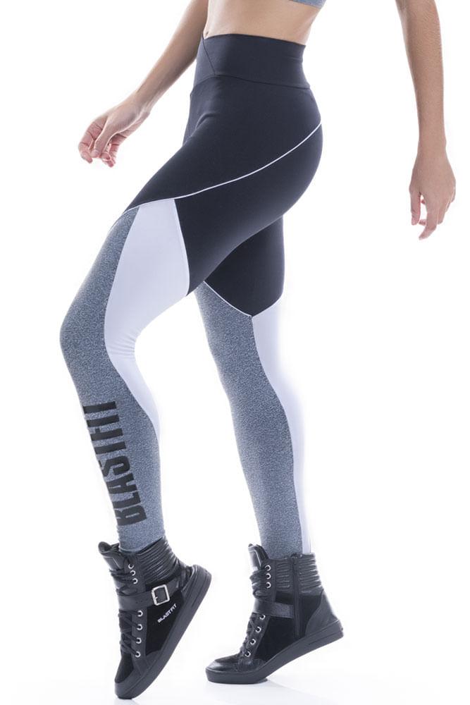 Legging Fitness Preto e Mescla Blast Fit