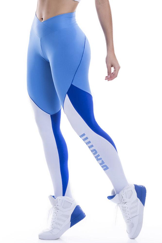 Legging Fitness Azul e Branca Blast Fit