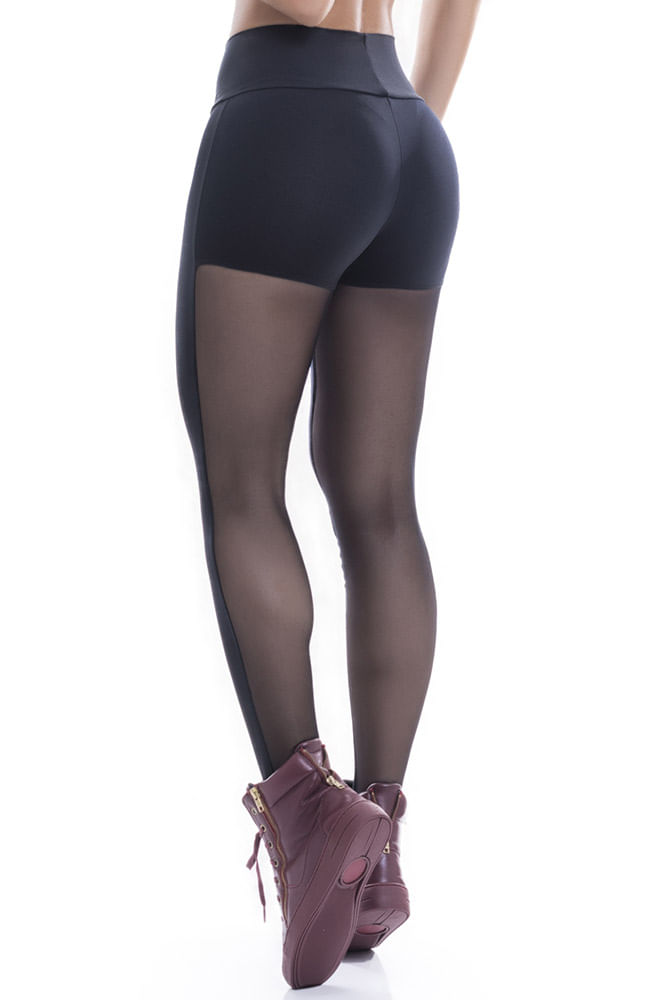 Legging Fitness Preta Tule Poliamida