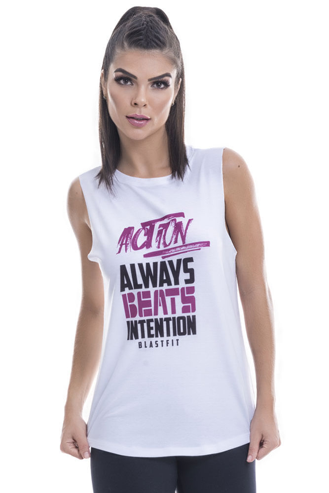 Regata Fitness Feminina Branca Action Blast Fit
