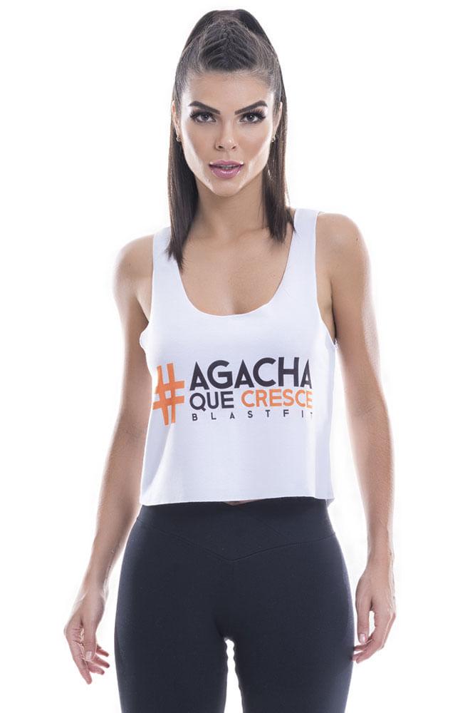 Regata Fitness Feminina Branca Agacha Que Cresce Blast Fit