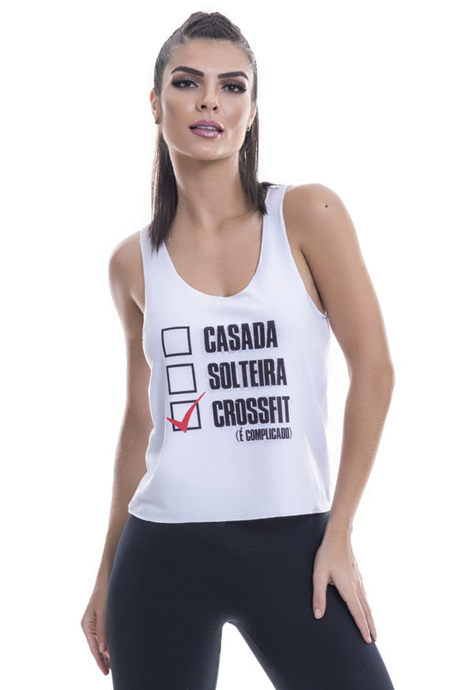 Regata Fitness Feminina Branca Cross Fit Blast Fit