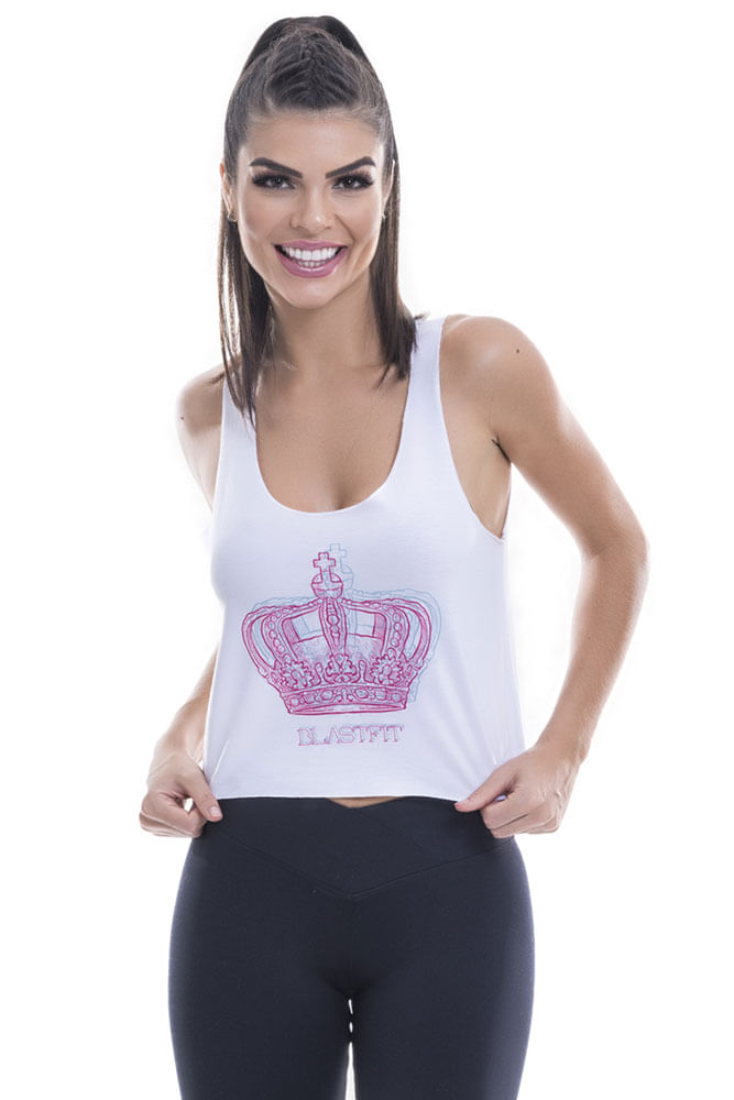 Regata Fitness Feminina Branca Crown Blast Fit