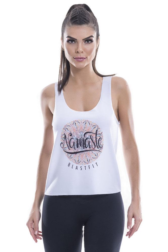 Regata Fitness Feminina Branca Namaste Blast Fit