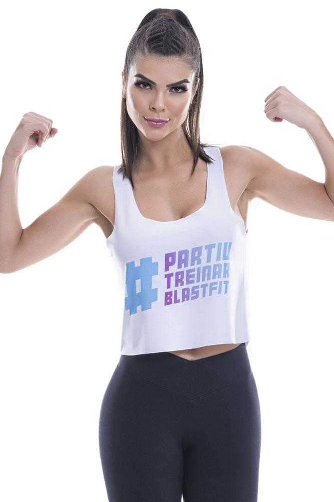 Regata Fitness Feminina Branca Partiu Blast Fit