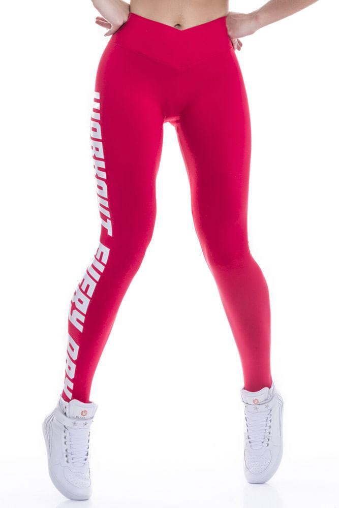 Legging Fitness Vermelha Workout Every Day