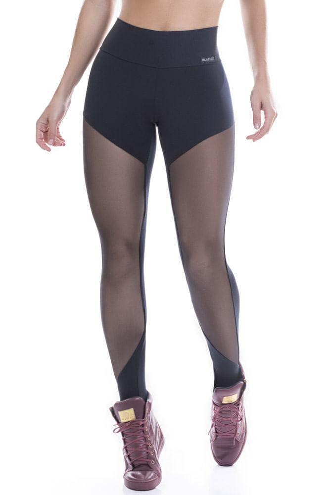 Legging Fitness Preta Tule frente Poliamida
