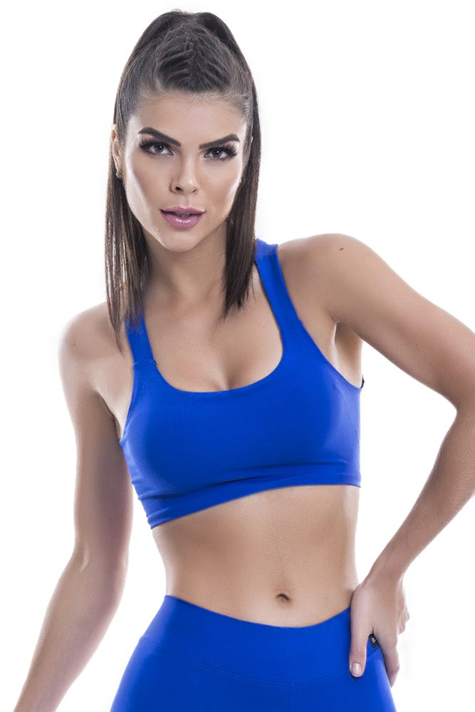 Top Cropped Fitness Azul Blast Fit
