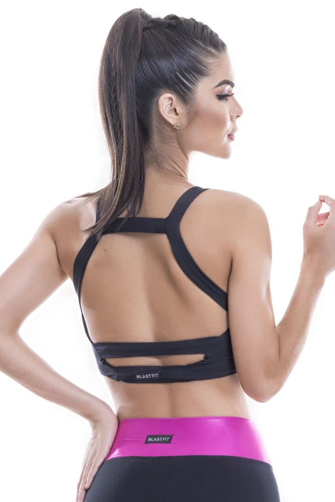 Top Cropped Fitness Preto Blast Fit