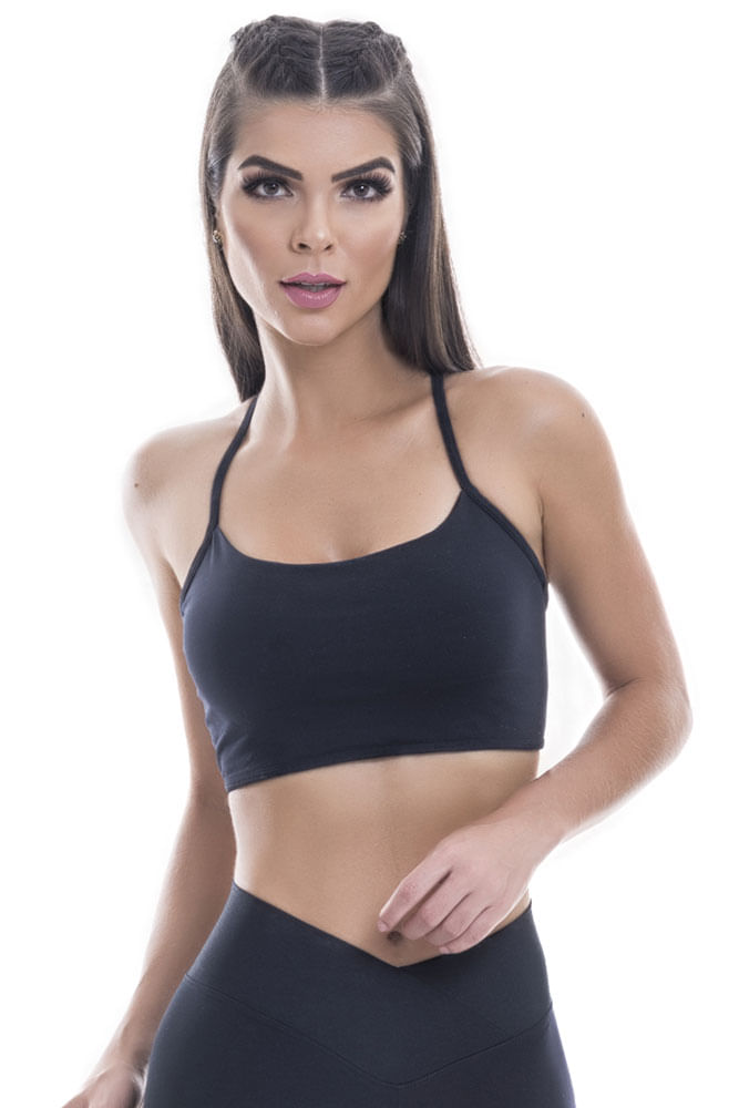 Top Cropped Fitness Preto Tiras Costas Blast Fit
