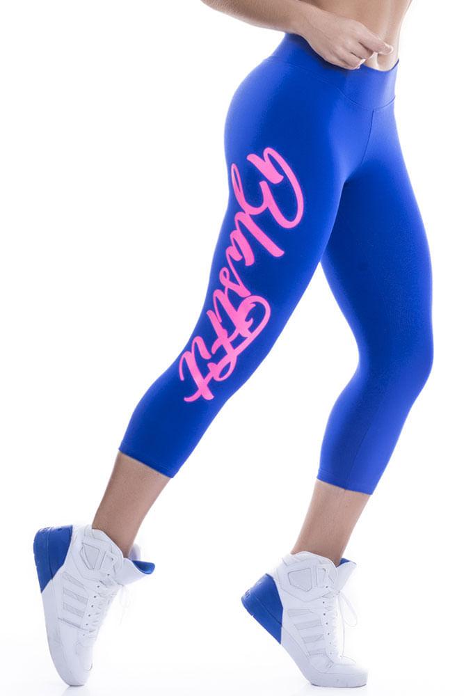 Calça Corsário Fitness Blast Fit Azul