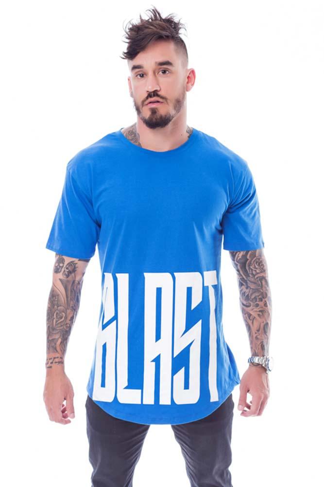 Camiseta Longline Big Blast Azul frente