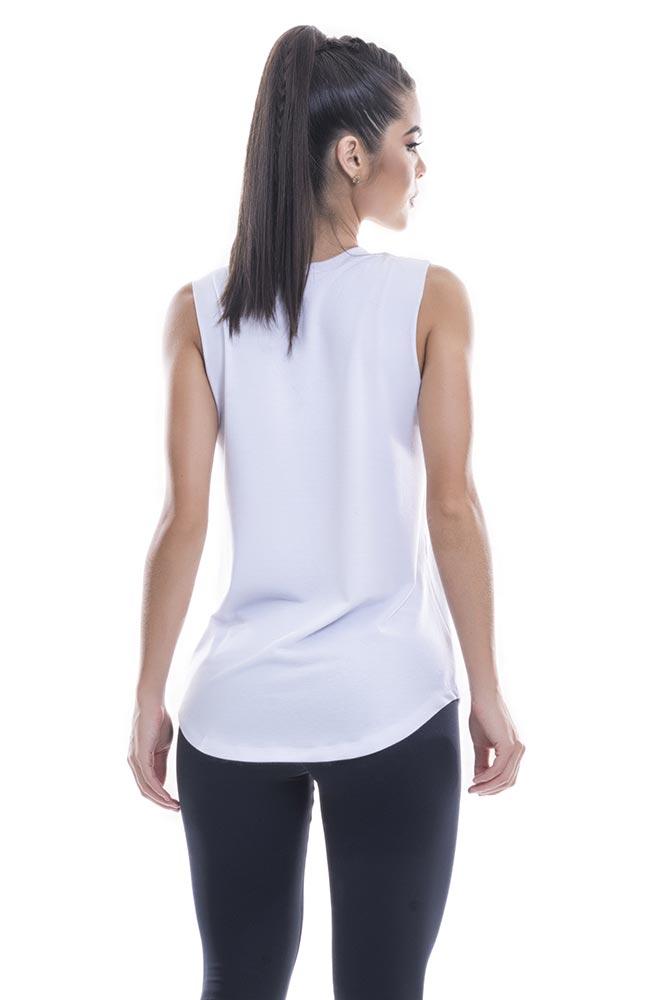 Regata Fitness Feminina Branca Action Blast Fit costas