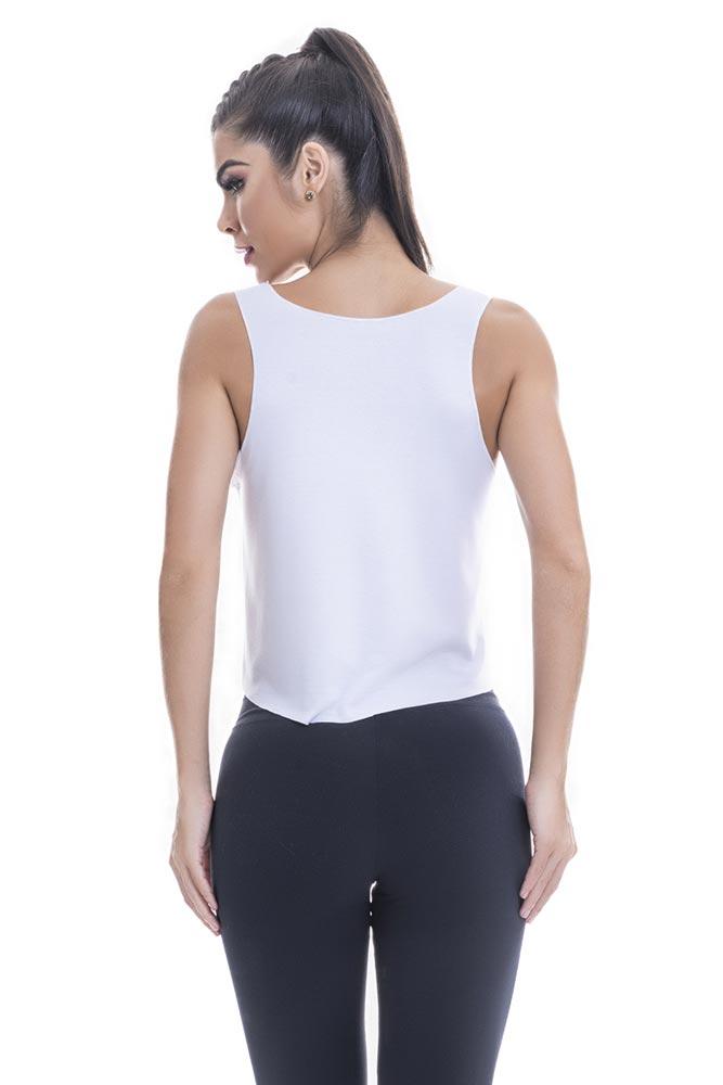 Regata Fitness Feminina Branca Agacha Que Cresce Blast Fit costas