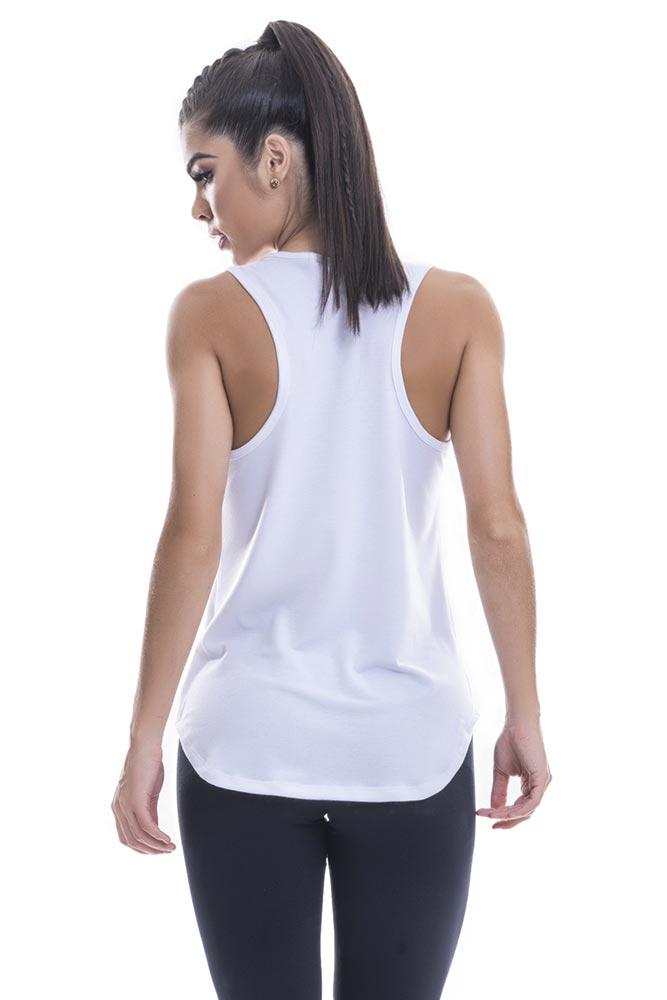 Regata Fitness Feminina Branca Dive Blast Fit costas