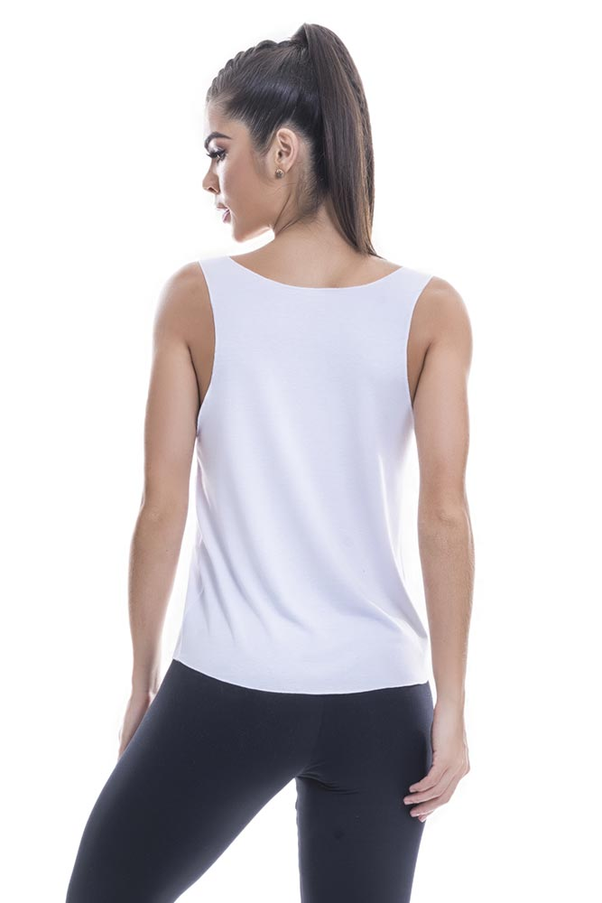 Regata Fitness Feminina Branca Namaste Blast Fit costas
