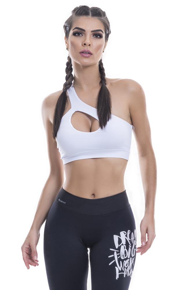 Top Fitness Um Ombro Só Branco frente